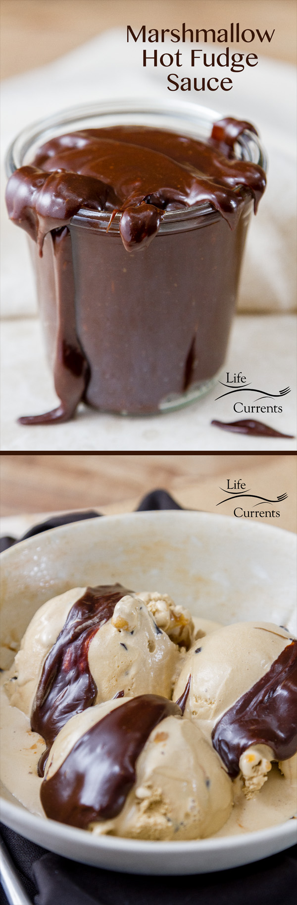 Hot Fudge collage for Pinterest with three images.