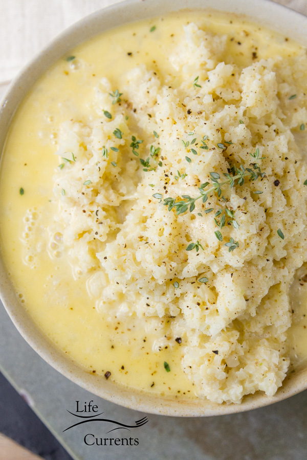 Garlic Parmesan Cauliflower Healthy cauliflower in a light garlic Parmesan cream sauce.