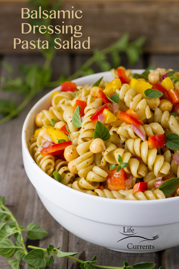 Balsamic Dressing Pasta Salad - no mayo, no sour cream, no cheese, easy to make and delicious!
