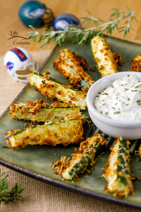 Healthy Baked Parmesan Zucchini Fries & Tailgating snacks month