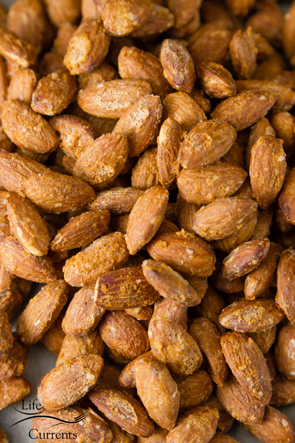 Smoked Garlic Almonds perfect for tailgating snacks month