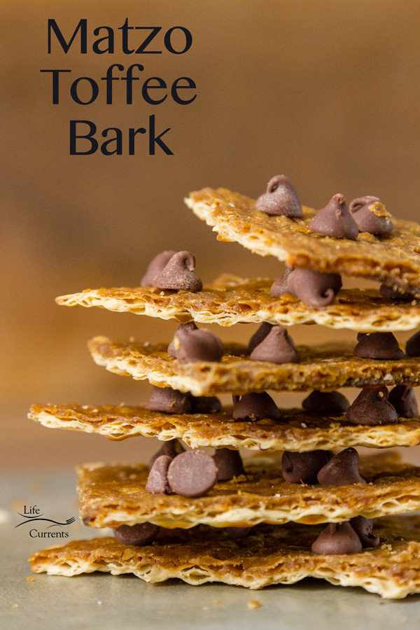 An easy recipe Matzo Toffee Candy Bark made with Matzo crackers as the base and topped with chocolate chips.