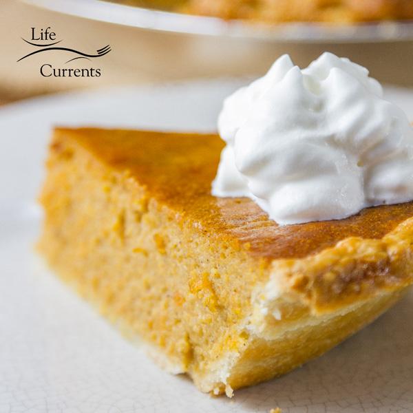 Sweet Potato Pie is similar to pumpkin pie, but typically not as sweet as pumpkin. It's also a little less custardy, or denser, than most pumpkin pies.