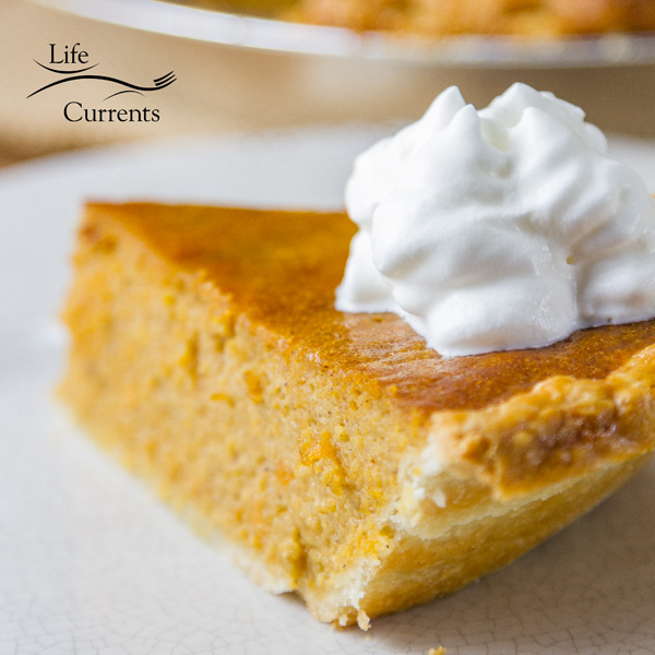 Sweet Potato Pie is similar to pumpkin pie, but typically not as sweet as pumpkin. It's also a little less custardy, or denser, than most pumpkin pies.