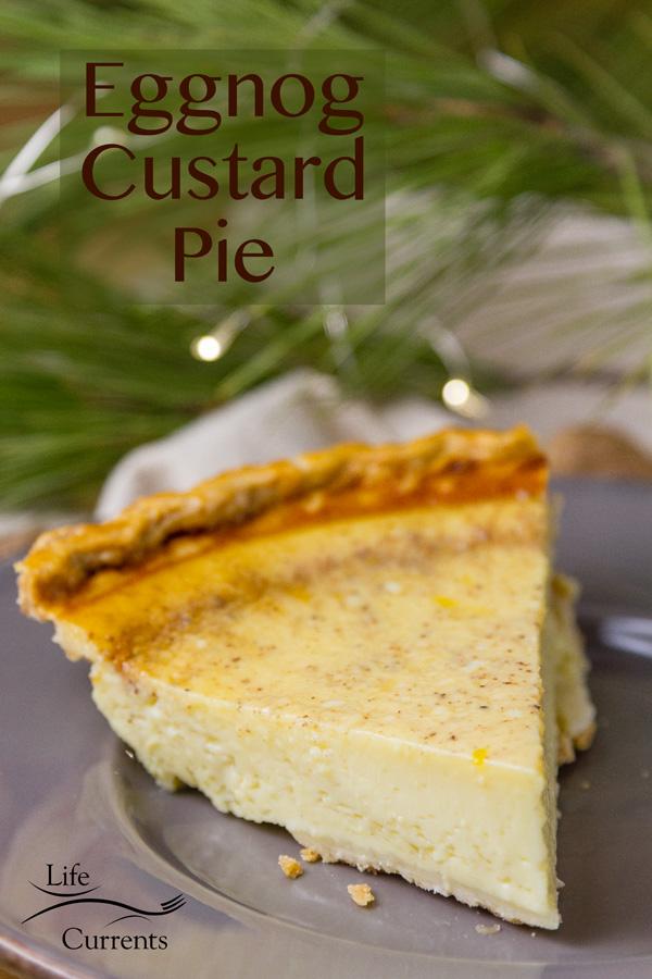 Eggnog Custard Pie Recipe #Christmas #dessert