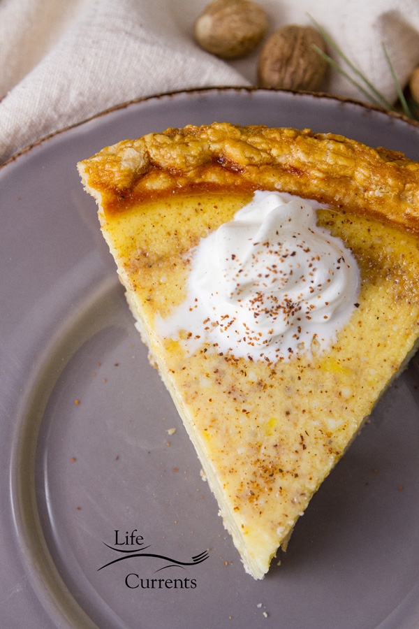 Eggnog Custard Pie recipe - filled with the wonderful festive flavors of the season