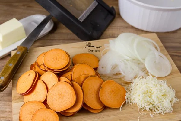 Sweet Potato Layer Bake - my favorite tool for this dish is the Mandoline - Please, I beg you, be careful!