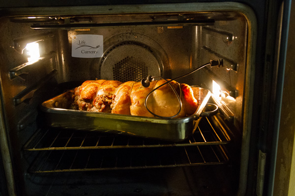 Rolled Stuffed Turkey with the oven probe in the oven