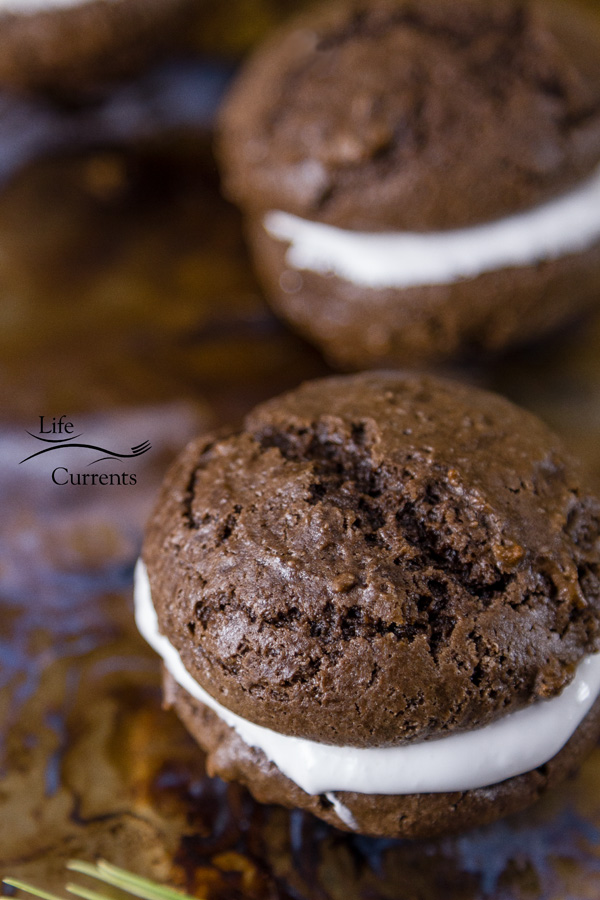 Chocolate Marshmallow Moonpies - soft dark chocolate cookies surround sweet marshmallow fluff