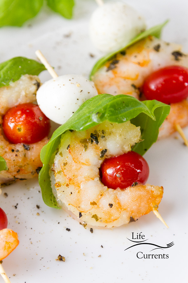 Shrimp Caprese Skewers - I also think these appetizers are fun in that you can serve them at almost any point in making them.