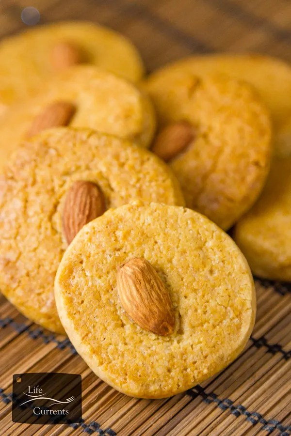 These cookies are also a great way to celebrate Chinese New Year. Almond cookies symbolize coins and will be sure to bring you good fortune. Gung Hay Fat Choy!