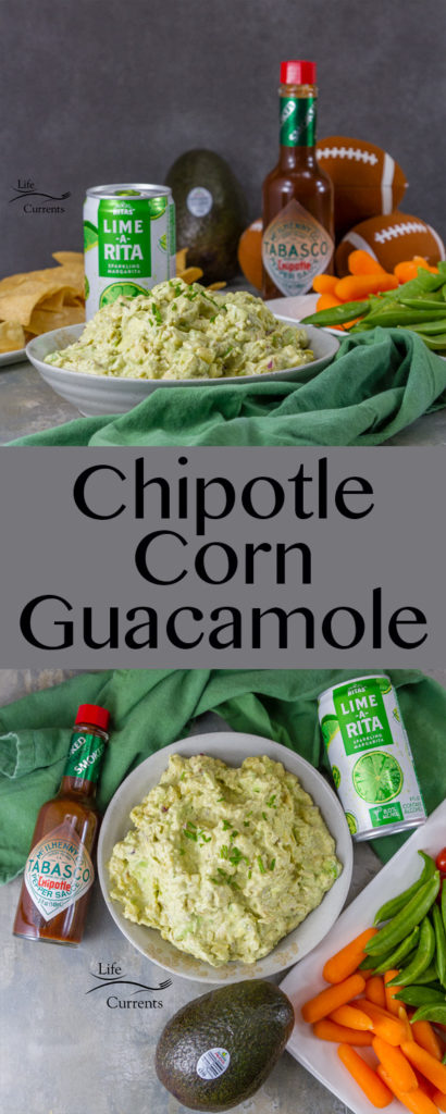 Chipotle Corn Guacamole #ad made with Avocados From Mexico, toasted corn, and TABASCO® Chipotle Sauce served paired with @RITAS to drink will score a touch down with all your party guests. This is the perfect appetizer for the Big Game.