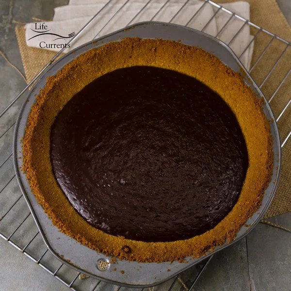Chocolate S'More Pie - the chocolate ganache filling after coming out of the oven