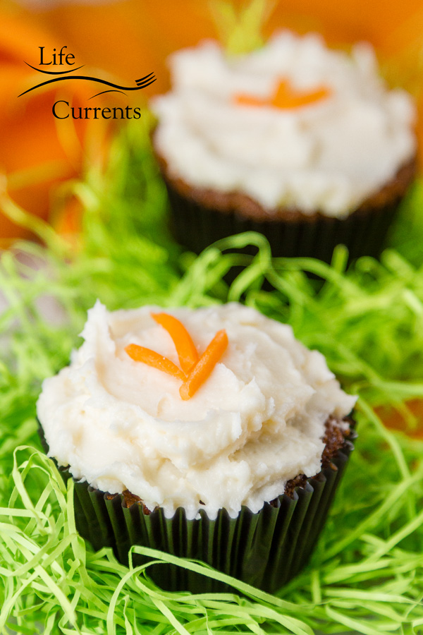 Carrot Cake Cupcakes with Cream Cheese Frosting - lighter in calories than most cakes, but not light on flavor