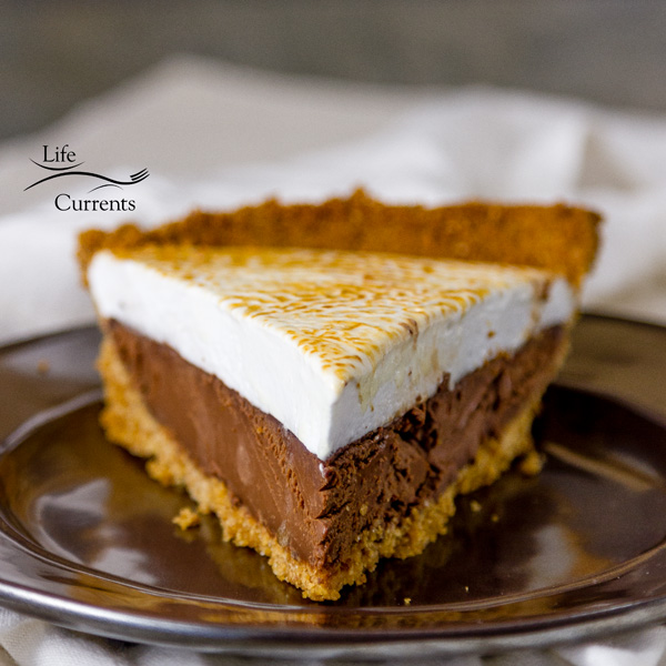 Chocolate S'More Pie freshly made and delicious - it just takes a bit of time