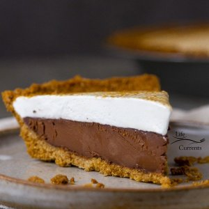 Chocolate S'More Pie Every year for my birthday he makes me a special birthday dessert. No matter how difficult, or time consuming. He makes it all from scratch.