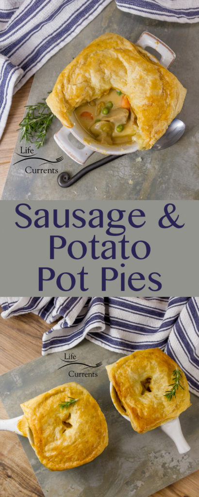 Sausage and Potato Pot Pie - These individual pot pies are so delicious! Easy to make stew filling then topped with flaky puff pasty and baked until golden and delicious