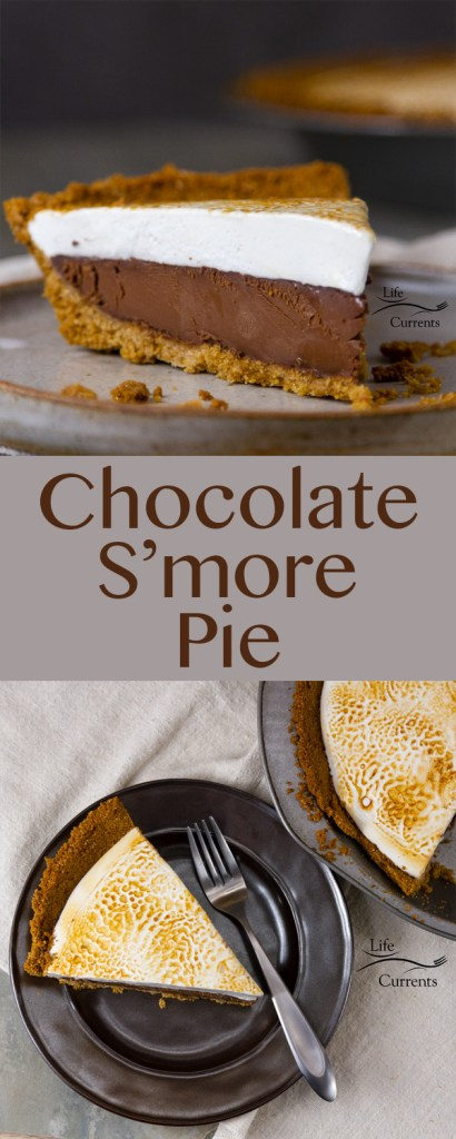 Chocolate S'More Pie - Freshly toasted homemade marshmallows top creamy delicious dark chocolate ganache all nestled in a golden graham cracker crumb crust.