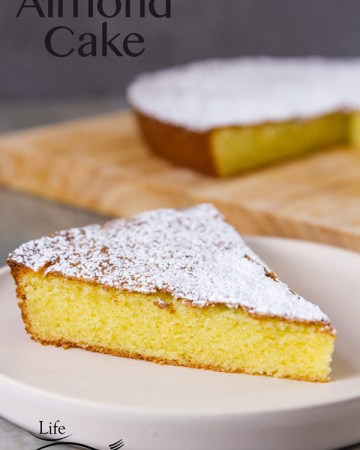 Lightly sweet delicate almond cake {with a gluten-free option} that's moist, tender, and incredibly delicious, and it's easy to make. You'll love this from scratch moist homemade almond cake.