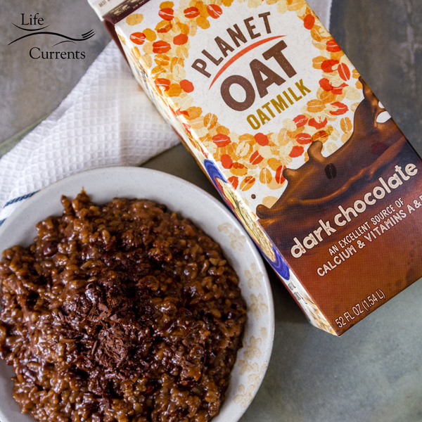 Dark Chocolate Oatmilk in easy rice pudding using leftover cooked rice