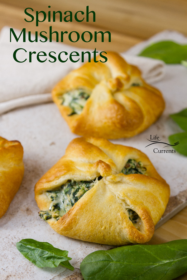 Spinach Mushroom Crescents - Easy to make, cheesy, crescents stuffed with iron-rich dark green spinach and mushrooms.