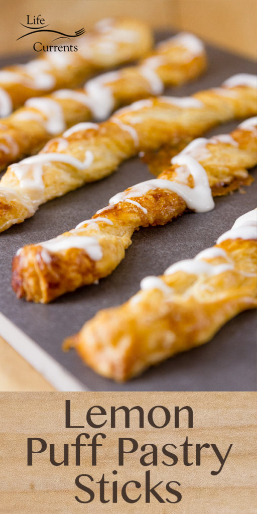 Lemon Puff Pastry Sticks on a platter with the title on the image