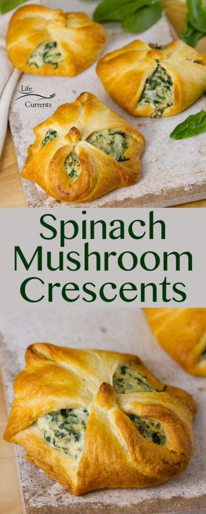 Spinach Mushroom Crescents Recipe - a great vegetarian main dish with healthy cheesy spinach & mushroom filling