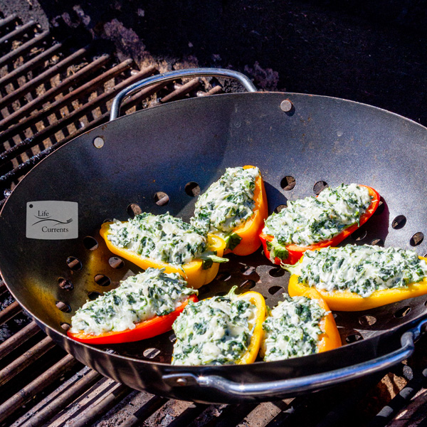 Grilled Cheesy Spinach Dip Stuffed Peppers stuffed peppers on the grill cooking