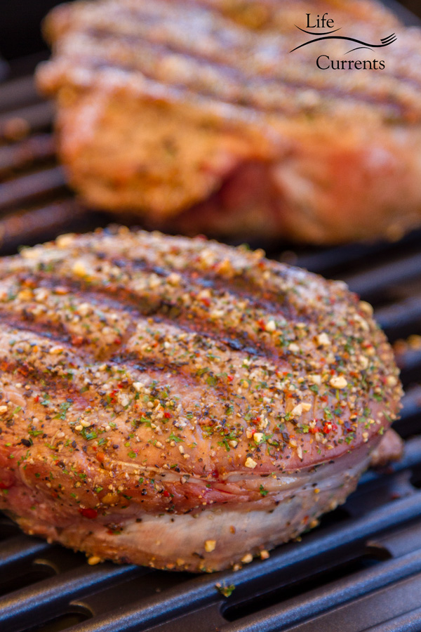 Grilled Steak with Herb Butter and Spice Rub - just look at those herbs and spices on the steak