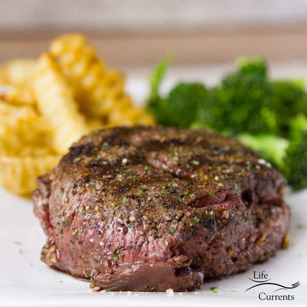 Grilled Steak with Herb Butter and Spice Rub - the steak can be enjoyed without the herbed butter if desired