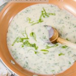 Creamy Basil Sauce A light fresh creamy sauce that's filled with summer basil. Perfect for serving over shrimp, fish, chicken, or pasta.