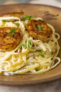 Blackened Shrimp Pasta - Cajun shrimp over creamy pasta a great easy to make weeknight meal