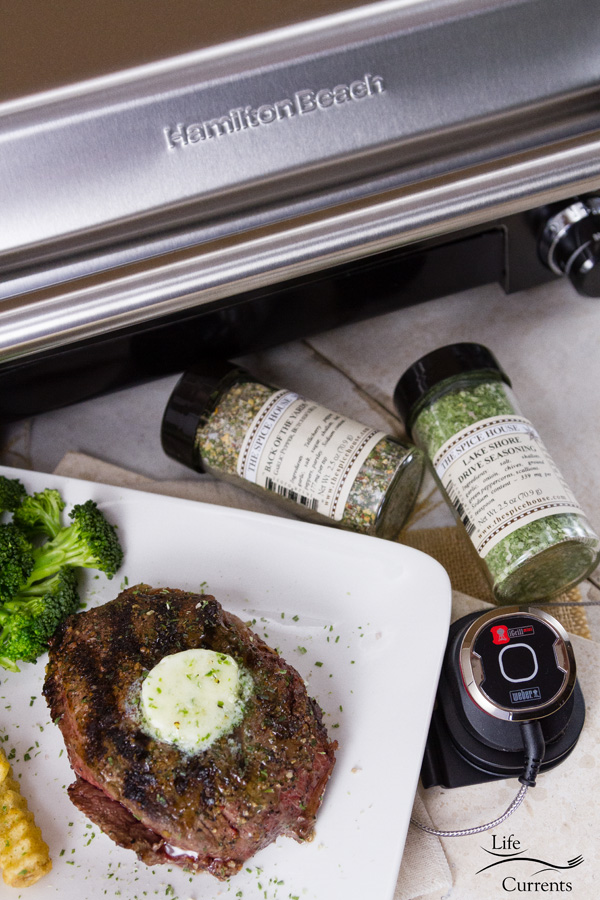 Grilled Steak with Herb Butter and Spice Rub sponsors Hamilton Beach, BBQGuys, and The Spice House