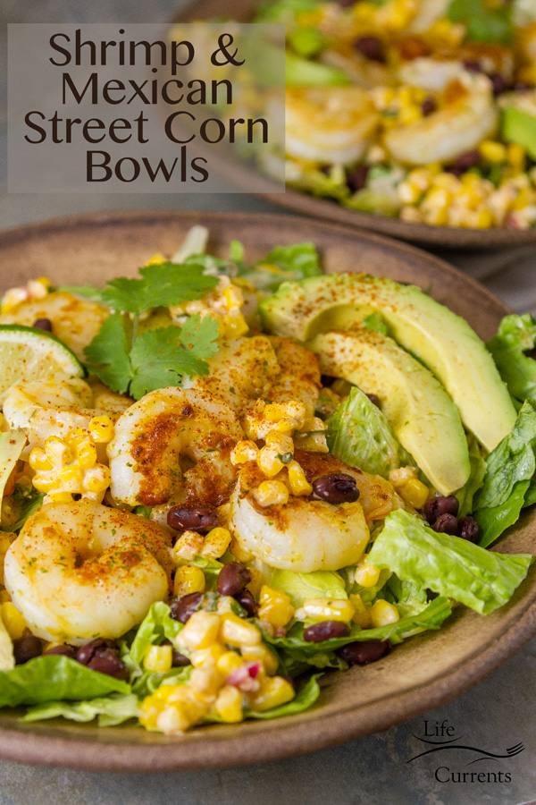 Shrimp and Mexican Street Corn Bowl Two salad bowls in brown ceramic with lots of shrimp and avocado healthy delicious