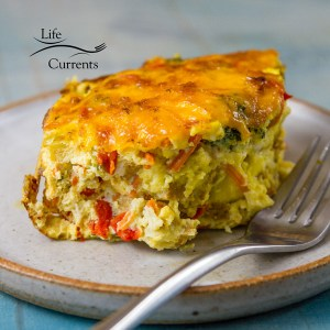 Sausage and Veggie Breakfast Egg Casserole - filled with veggies like broccoli, red pepper, carrots