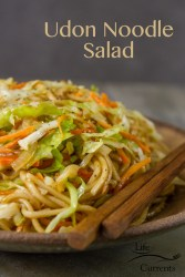 Udon Noodle Salad Thick toothsome Japanese style udon noodles in a light soy-ginger dressing with fresh stir fried veggies. Serve it hot for a lovely main course, or cold for a great pot luck option.