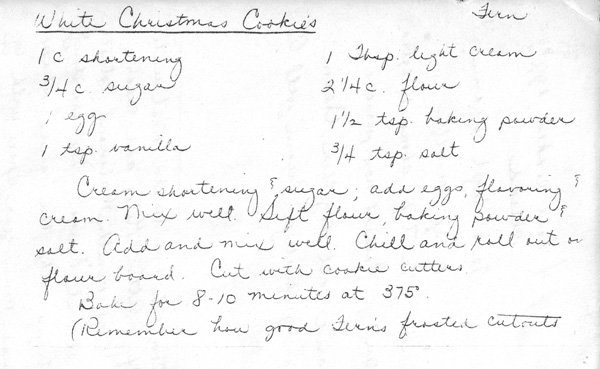 My copy of the hadwritten recipe card for Cut Out Cookies