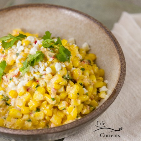 Mexican Street Corn Salad (esquites) -- Esquites are the off-the-cob version of elotes (or corn on the cob made Mexican style and usually served on a stick).