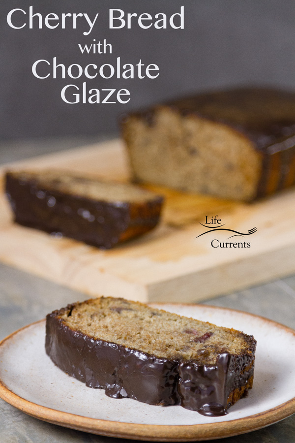 Cherry Bread with Dark Chocolate Glaze - A moist delicious bread filled with cherry flavor from cherry juice and cherry preserves, then topped with a delicious dark chocolate glaze icing.