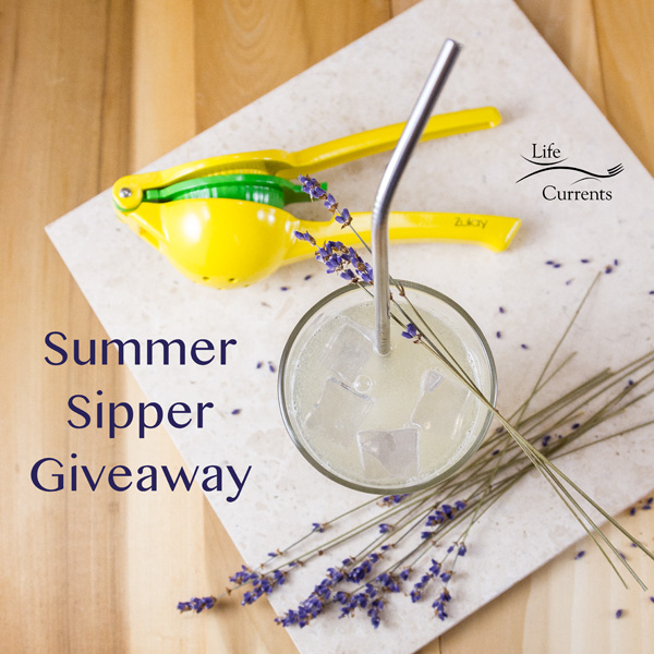 Supper Sipper Giveaway image with Zulay citrus squeezer and stainless steel straw and Lavender Lemonade
