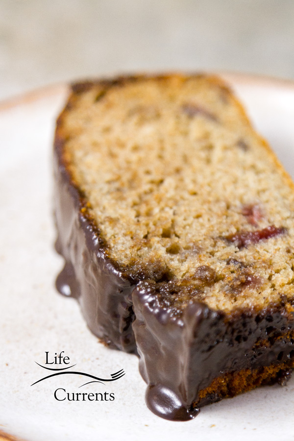 Cherry Bread with Dark Chocolate Glaze Recipe – and easy to make quick bread loaf that has whole wheat in it, yet it's still moist and delicious. The bread is also low in added sugar