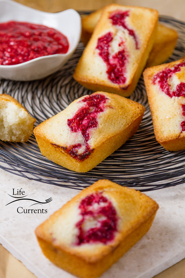 French Almond Financiers Cakes with Roasted Raspberry Swirl -- These cakes are great for any dinner party or brunch, like Mother's Day or Christmas.