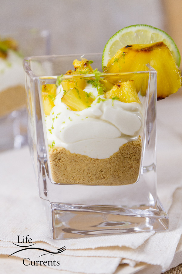 Lime and Pineapple Parfaits in small glasses