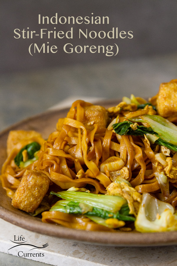 Easy Mie Goreng or Indonesian Stir-Fried Noodles on a brown plate with fried tofu, bok choy, and cabbage