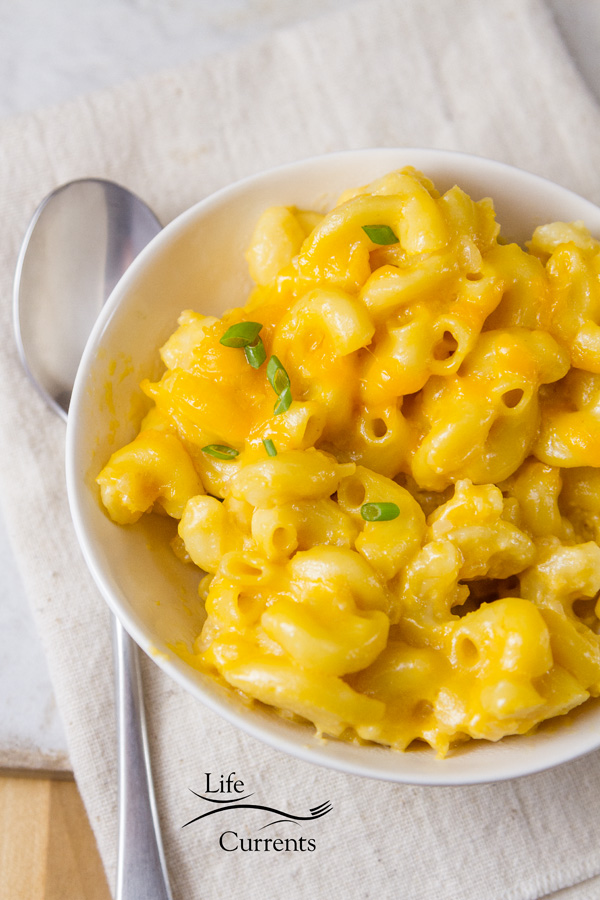 One Dish Oven Baked Mac & Cheese recipe in a white bowl with a spoon on the right on a white background