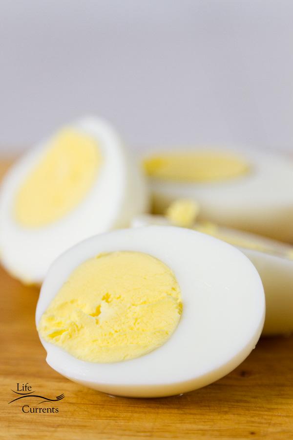 boiled eggs cut in half