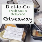 filled meal prep boxes with food in them stacked, and a title of Diet to go fresh meals delivered giveaway