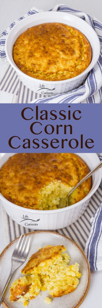 classic corn casserole long pin with two images and a title