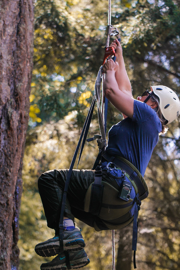 me, learning to tree climb using the single rope technique
