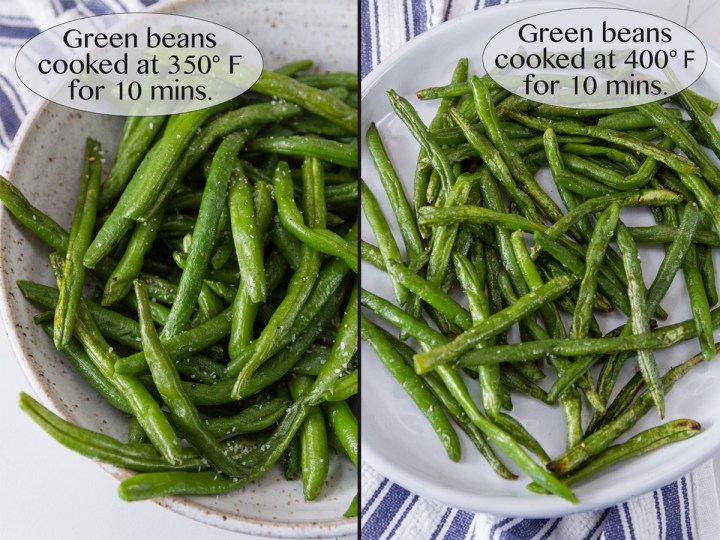 frozen green beans cooked in the air fryer. Comparing the cooking temperatures for best results.